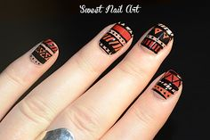 Aztec nail art in nude, rust, orange and black