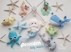 Hello And Welcome To NiNuBo New Poseidon/Merman mobile! Made To Order Please Check My Creation Time before ordering My mobiles are all my own design! hand make from scratch, using quality felts and materials. I hand draw, cut and stitch each character by hand. * MOBILE INCLUDES 1 large