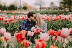 Forest Park Engagement Photos in St. Louis, MO This is a tulip garden by the Jewel Box