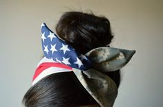 ACU Digital (Army Combat Uniform) Camouflage Dolly bow, American flag head band, hair accessory made with navy blue and white stars mixed Digital