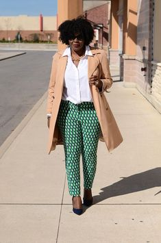 green print pant, blue suede shoes