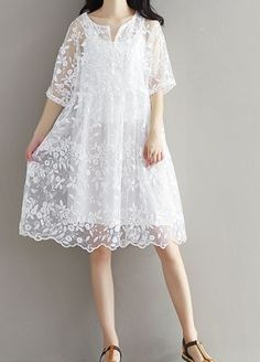 Women loose fit over size white lace flower embroidered dress tunic sling chic