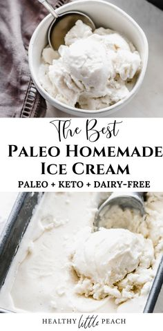 The most delicious Paleo Vanilla Ice Cream. It's creamy and only includes 5 ingredients. You will never believe it is Keto, Paleo and Dairy Free. The Best Homemade Paleo Vanilla Ice Cream Healthy Little Peac Paleo Ice Cream, Dairy Free Ice Cream, Homemade Ice Cream, Ice Cream Recipes, Vanilla Ice Cream Ingredients, Paleo Dessert, Paleo Sweets, Galletas Paleo, Keto Eis