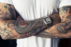 Old school sleeves | Anchor & Bolts #tattoo #dude