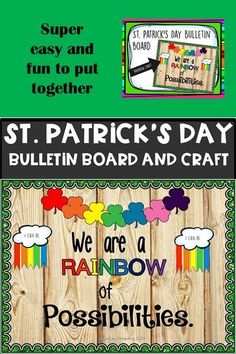 A very cute st Patricks day bulletin board and craft for your classroom. - A very cute st Patricks day bulletin board and craft for your classroom. Patrick's Day bulle - Elementary Bulletin Boards, Reading Bulletin Boards, Preschool Bulletin, Classroom Board, March Bulletin Board Ideas, Classroom Decor, St Patricks Day Quotes, St Patricks Day Food, St Patricks Day Crafts For Kids