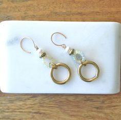 Gold Link Drop Earrings-Ethiopian Opal Pearl – Laura James Jewelry