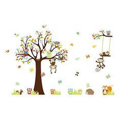 Große Baum für Kinderzimmer Affe Wandaufkleber Wandtattoo Wanddekoration FWT12C, http://www.amazon.de/dp/B00L27XXVS/ref=cm_sw_r_pi_awdl_RGR5tb1K6BGT7