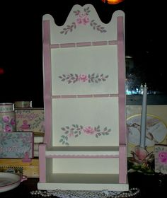 """SPOON RACK 10X5X22.25"""" ej pink roses hp shabby chic cottage vintage hand painted"""