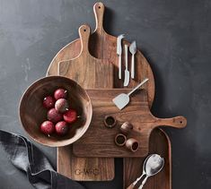 We've given antique European wood tableware designs an updated silhouette and artisan finish to create our Chateau Collection, crafted in a Fair Trade certified™ factory. This pizza paddle reveals the beauty of the wood's grain a… Wood Pizza, Office Storage Furniture, Guest Room Decor, Ceramic Tableware, Charcuterie Board, Acacia Wood, Serveware, Crate And Barrel