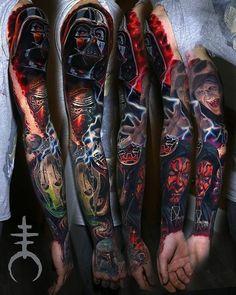 "Inked Boutique (@inkedboutique) on Instagram: ""Nice Star Wars sleeve by @el_mori_tattooartist ・・・ #InkedBoutique #starwars #starwarstattoo #sith…"""