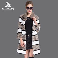 SISILIA 2016 New women  rabbit fur coat,Three different colors of rex rabbit skin,The visual effect is obvious,Real fur coat