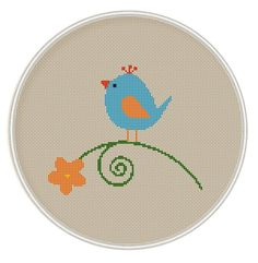Bird with flower Cross Stitch Pattern Cross by MagicCrossStitch