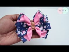 Amazing Ribbon Bow - Hand Embroidery Works - Ribbon Tricks & Easy Making Tutorial - Free Online Videos Best Movies TV shows - Faceclips Fabric Hair Bows, Diy Hair Bows, Making Hair Bows, Ribbon Hair Bows, Diy Bow, Fabric Flowers, Fabric Bow Tutorial, Ribbon Flower Tutorial, Hair Bow Tutorial