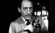 Jean Cocteau with cat, Paris, 1950. Photograph: Jane Bown