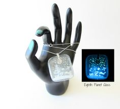 Snowy Night  Glow in the Dark Glass Necklace by EighthPlanetGlass, $40.00