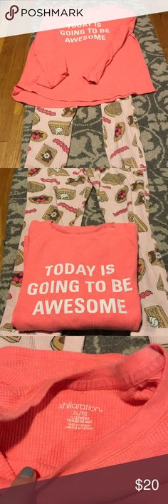 """Adorable PJ set """"Today is Gonna Be Awesome"""" PJ set with breakfast inspired leggings. Thermal material size XL Xhilaration Intimates & Sleepwear Pajamas"""