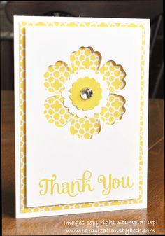 Stampin' Up! ... handmade Thank You card from Card Creations by Beth: A Trio of Thanks ... yellow and white ... background layer of print paper ... top layer with negative space flower shows background plus as flower center ... luv the format ...