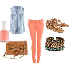 Coral Pants with Denim sleeveless shirt, created by sthankar on Polyvore