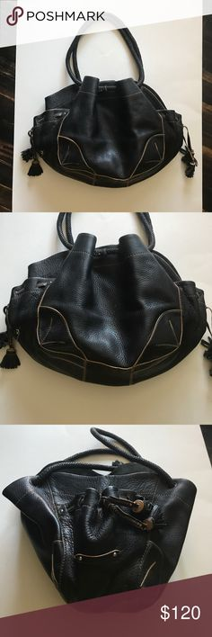 "Cole Haan Village Handbag Leather is in very good condition. Magnetic snap closure. Lining has little blemish. H9""XL15""XD4-5"" strap drop 8"". Cole Haan Bags Hobos"