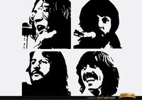 The Beatles Let It be silhouettes Free Vector