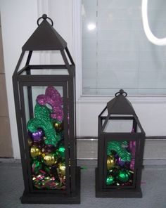 I already have hurricane lamps similar to these, I wonder if they still have the Christmas ornament balls at Garden Ridge. Mardi Gras Centerpieces, Mardi Gras Decorations, Christmas Decorations, Christmas Ornaments, House Decorations, Ball Ornaments, Christmas Balls, Christmas Stuff, Christmas Tree