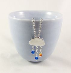 Drop of Sunshine  Silver Rain Cloud Necklace with by ZoeHearts, £9.50