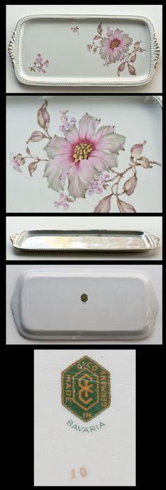 1949-1955 Vintage Porcelain Vanity Tray Rose Gold Luster CICO Bavaria Germany
