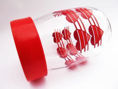 Red Heart Candy Jar 1980s Valentine's Day Carlton 80s by pezzazz, $14.99