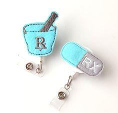 Pharmacist Gift Set  Felt Badge Reels  Cute Retractable Badge Holders Pharmacy Technician Gifts by BadgeBlooms on Etsy