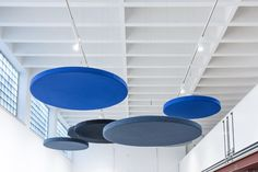 Ceiling absorber 50 for suspension, round frameless by AOS #architonic #nowonarchitonic #interior #design #furniture #ceiling #system #panel #blue