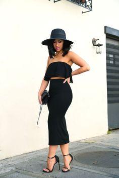 black pencil midi skirt, a black off the shoulder top and heels