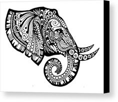 Elegant Elephant Canvas Print by Sadie Maughan.  All canvas prints are professionally printed, assembled, and shipped within 3 - 4 business days and delivered ready-to-hang on your wall. Choose from multiple print sizes, border colors, and canvas materials.