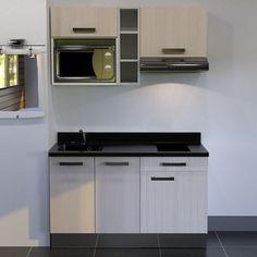 Kitchenette K16 - 140 cm avec étagère, emplacement hotte et micro ondes