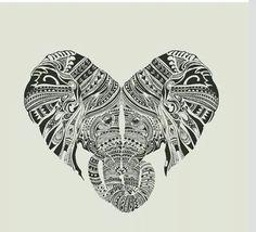 """Elephant heart heads """"tattoo"""""""