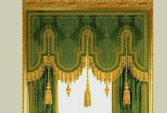 The Green Drawing Room, Windsor Castle. A deep green pure silk damask woven wide… Damask Curtains, Silk Curtains, Hanging Curtains, Curtains With Blinds, Valances, Cornice Design, Drapery Designs, Drapery Styles, Window Drapes