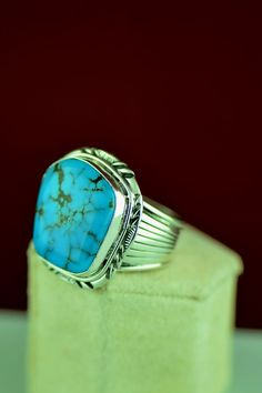 Navajo – Kingman Turquoise Sterling Silver Ring Will Denetdale Size 12 Mens Gemstone Rings, Mens Silver Rings, Sterling Silver Jewelry, Mens Turquoise Rings, Turquoise Jewelry, Kingman Turquoise, Native American Jewellery, American Jewelry, Unique Mens Rings