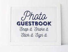 Navy Wedding Signs, Wedding Guestbook Sign, Photo Guestbook Sign, Snap It Shake It Stick It Sign In, Photo Booth Sign, Navy Guest Book Sign