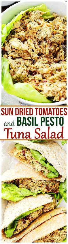 Sun Dried Tomatoes and Basil Pesto Tuna Salad - Combined with basil pesto and sun dried tomatoes, this tuna salad is about to become your next favorite salad recipe that is perfect for any summer picnic, a quick dinner, or a delicious lunch!