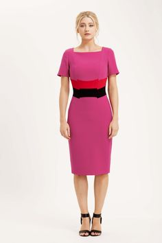 The Calabria dress is made from our signature bi-stretch crepe fabric. This colourway is hot pink, with the contrasting band of ret and black across the middle to give the illusion of a slimmer waist. £145 #colourblock #dress #summer #dress #ootd #pink