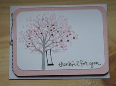 Pretty Pink Thank You with Tree by CreateByCait on Etsy