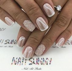"""If you're unfamiliar with nail trends and you hear the words """"coffin nails,"""" what comes to mind? It's not nails with coffins drawn on them. It's long nails with a square tip, and the look has. Wedding Manicure, Wedding Nails Design, Wedding Toe Nails, Bridal Nail Design, Glitter Wedding Nails, Bridesmaid Nails Acrylic, Wedding Nails For Bride Natural, Bridal Toe Nails, Vintage Wedding Nails"""