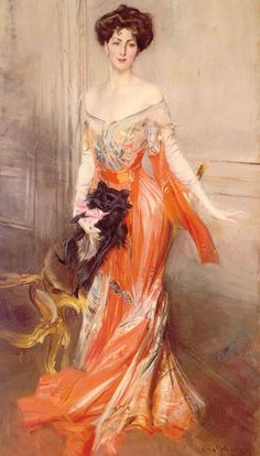 portrait of Elizabeth Drexel,  an American author & Manhattan socialite, painted in 1905 by Boldini...loving the orange tones of her dress.