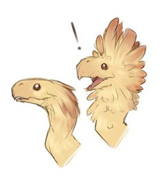 kawai ---- I think this is sorta what it would be like, but scales and frills instead of feathers. Oh and the mouth/head is different.