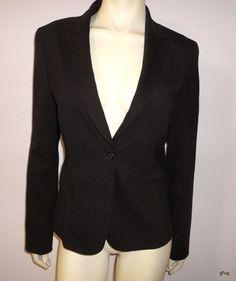 TAHARI Brown Wool Stretch Button-up Career Suit Blazer Jacket 10