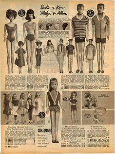1965 Advert Barbie Doll Ken Midge Allan Dolls Skipper Tammy Mattel Fashion | eBay