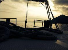 Leaving our last anchorage. Hoist sails for next island!! #sailty #sailingholidays #sailinggreece #greece #islands