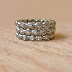 Moissanite Eternity Ring Set in 14K White Gold- Deposit. $560.00, via Etsy.
