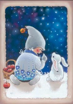 Bunny Rabbit with Boy Christmas Winter Art Card Print.