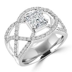 Majesty Diamonds CTW Princess Cut Diamond Fashion Cocktail Ring in White Gold, Size Princess Cut Diamonds, Cocktail Rings, Black Diamond, Diamond Engagement Rings, White Gold, Wedding Rings, Rose Gold, Pendant, Unique Jewelry