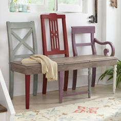 Artisan Bench - Grandin Road $388.  Would be a great DIY project.  Love benches.